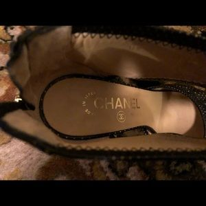 CHANEL Shoes - Authentic Chanel Black & Gold Heels
